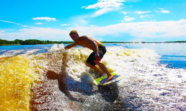 Braden Koritar enjoying his turn at wakesurfing!