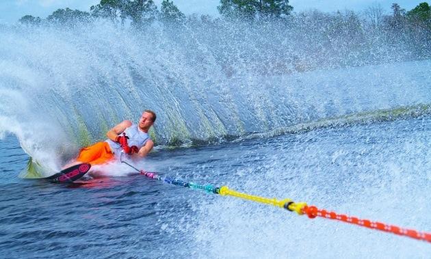 Cody Lumax enjoying a Day of Watersking on Whitefish lake