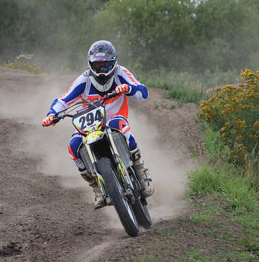 Rider Brett Rupert burns around the Kuster MX Park in Westlock, Alberta.