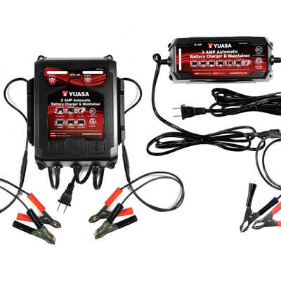 New Yuasa battery chargers and maintainers for powersports.